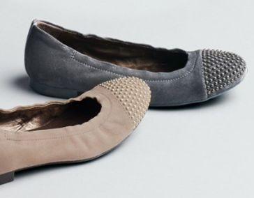 studded cap toe ballet flats