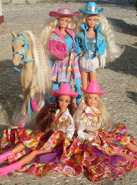 Cow Girls! 1989 Western Fun Barbie ~   1993 Western Stampin' Barbie ~ 1994 Country Western Star Teresa & Barbie