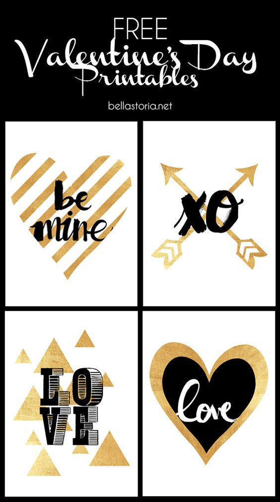 Free Glamorous Valentine's Day Art Printables in Pretty Gold Foil and Black via Bella Storia #valentines #freeprintablevalentines #valentinesprintables #freevalentinesdaycards #valentinesdaypartyprintables #valentinesdayparty