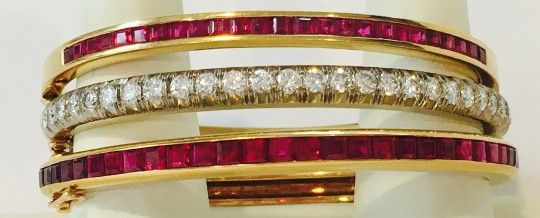 Lady's Hinged Ruby Cuff Bracelets and Hinged Diamond Cuff Bracelet | August 6, 2016 Auction at Rafael Osona Auctions Nantucket, MA