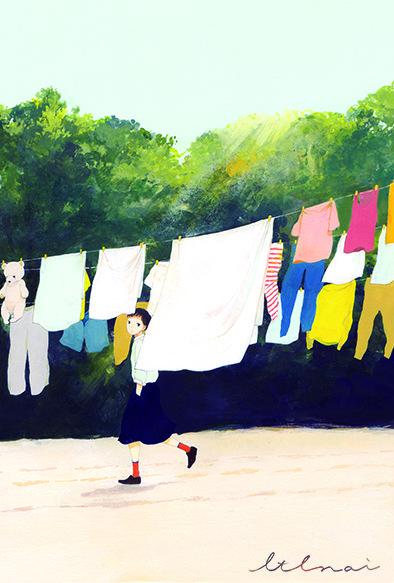 去年の12-cotocoyomi-展の絵です! カレンダーのイラストを展示していて これは『春』の絵です。