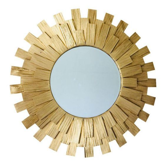 Sunburst Wall Mirror Handmade Golden Color Wooden Handmade Wall Mirrors Mirror Wall Round Wood Mirror