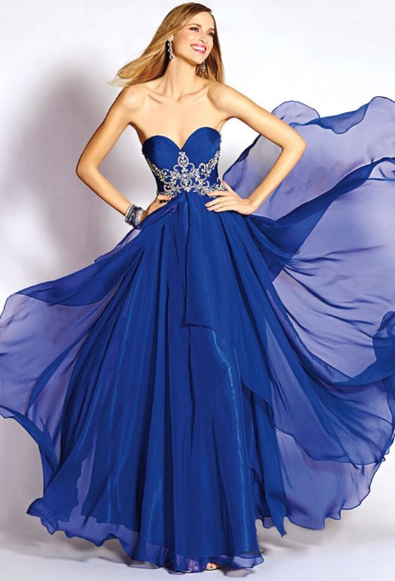 Size 4/6 Royal Blue long formal flowy evening gown! Rent this ...