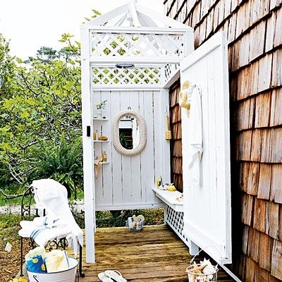 cottage outdoor shower.. If I ever have a pool....