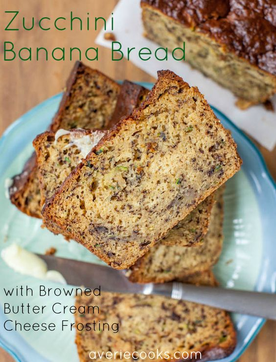 Zucchini Banana Bread with Browned Butter Cream Cheese Frosting. One bowl & just minutes to make this extremely moist, soft, & tender bread