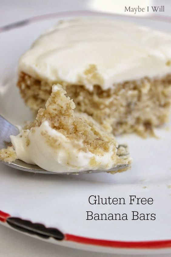 Gluten Free Banana Cake w/ Sugar Free Cream Cheese Frosting!!! Ummm Yumm!!! These look amazing and they're HEALTHY!!! #glutenfree #healthyeats {www.maybeiwill.com}