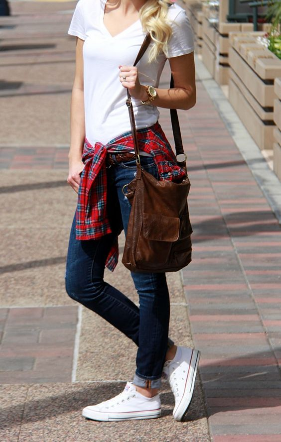 Casual look | Simple white tee, denim, plaid shirt and sneakers: