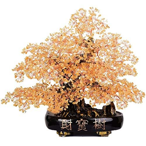Feng Shui Citrine Crystal Money Tree Bonsai Style Decoration for Luck /& Wealth