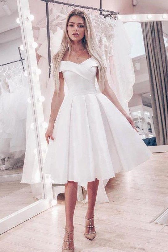 Off The Shoulder Little White Wedding Dress Short A Line Skirt In 2020 Knee Length Wedding Dress White Homecoming Dresses Wedding Dresses Simple