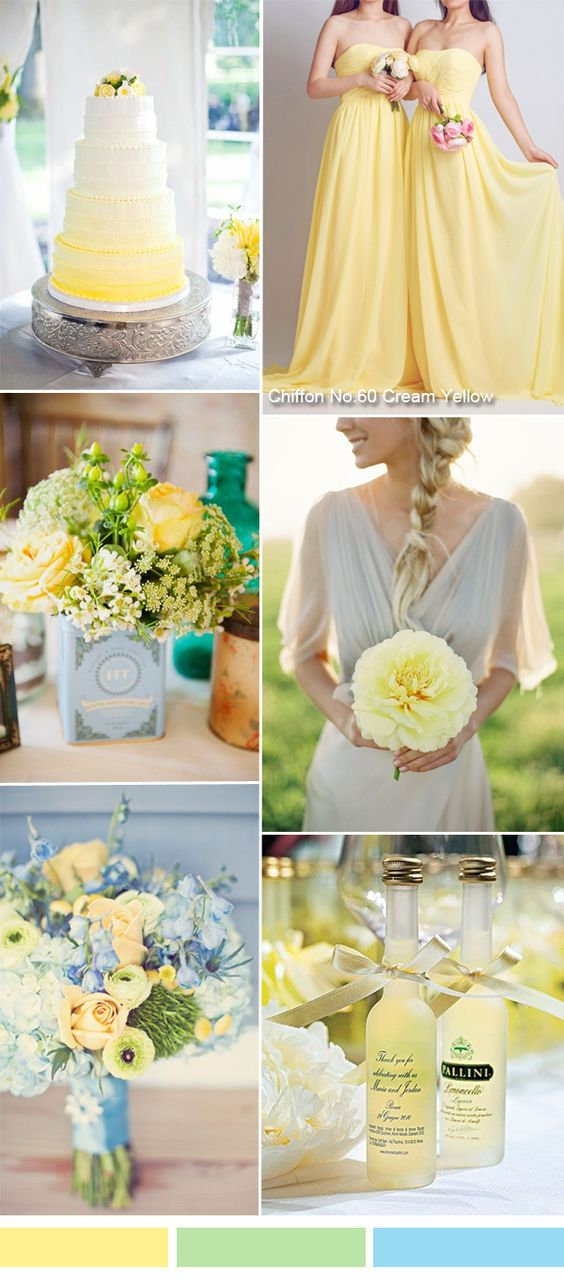 TBQP284 Cream yellow wedding color ideas - yellow bridesmaid dresses for spring summer wedding: