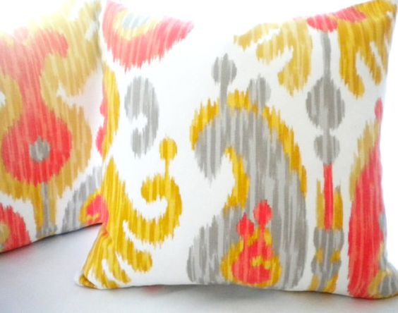 orange yellow grey Ikat pillow cover, FABRIC BOTH SIDES, Multi color Ikat pillow cover, available all sizes, yellow pillow cover