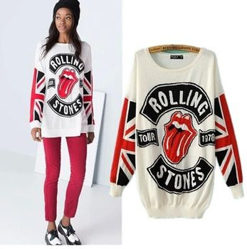 Streetwear,tongue print fashion knitted sweater