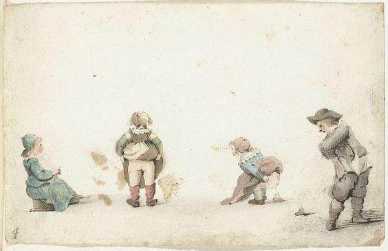 Vier kinderen die hun behoefte doen, Gesina ter Borch, 1649 - 1650