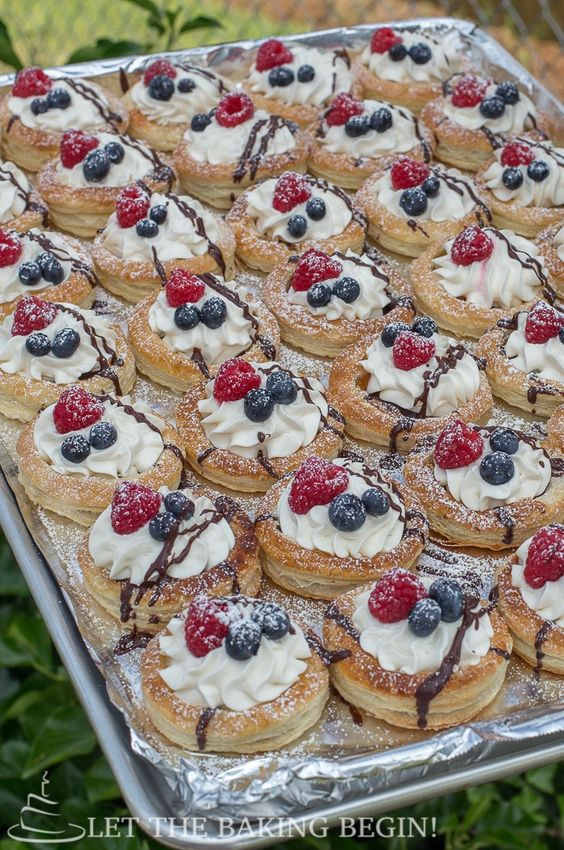 Puff Pastries with Berries and Cream - Wow your guests with these easy to make, but oh so impressive pastries! Perfect for baby and bridal showers, graduation parties etc.