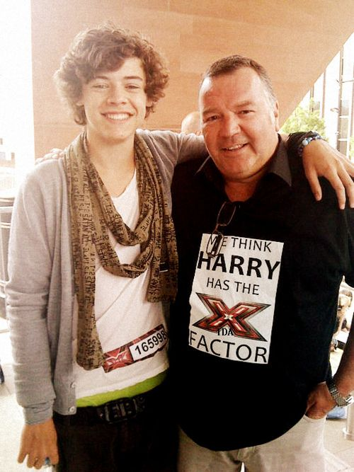 Harry with his stepfather at his audition