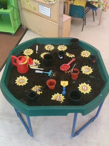 pots have numbers on for sorting and counting. Bury numbers/letters to discuss. Find a number line or letters to your name.