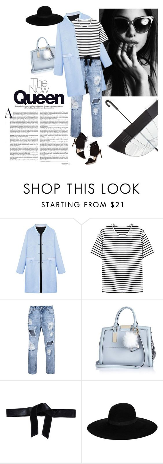 """""""Rainy Dayze"""" by lisalockhart ❤ liked on Polyvore featuring WithChic, River Island, RoÃ¿ Roger's, Maison Michel, Loeffler Randall and Hunter"""