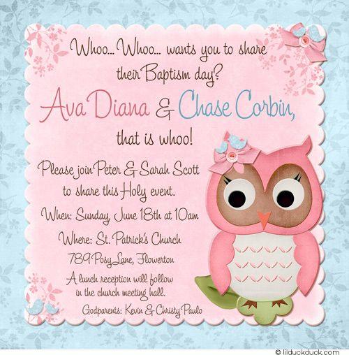 Baby Owl Twin Baptism Invitation - Pink & Blue Girl & Boy | Future ...
