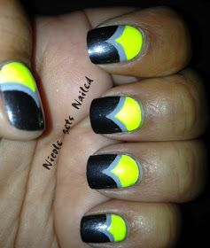 Neon Grey Chevron Nails