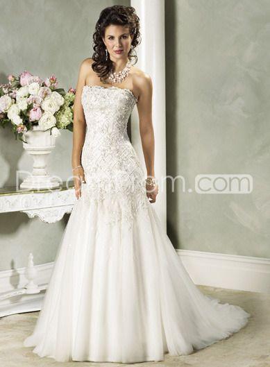 Elegant Slight Mermaid/Trumpet Strapless Floor Length Sweep Train Wedding Dresses