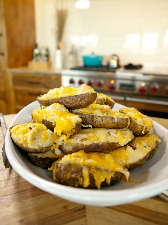Twice-Baked Potatoes from The Pioneer Woman: Food Network, Twice Baked Potatoes, Side Dishes, Cheesy Potatoes, Potatoes Recipe, The Pioneer Woman, Pioneer Woman S, Pioneer Woman Potatoes, Food Recipe