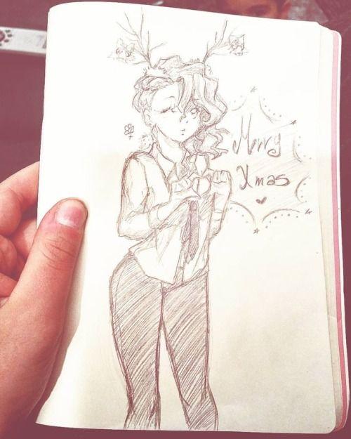 Merry Christmas Anime Manga Girl Holiday Christmas Draw Sketchbook Traditional Creative Paper Pencil Dee Sketch Book Anime Paper Merry Christmas