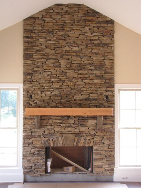 This is almost identical to my fireplace.  Same type mantel, stone to the ceiling, windows on either side - even the paint color looks the same.: House Design, Home Sweet Home, Living Room