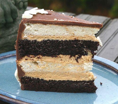 Heaven & HellCake - Devil's Food, Angel Food, Peanut Butter Mousse, and Lindt Milk Chocolate Ganache!