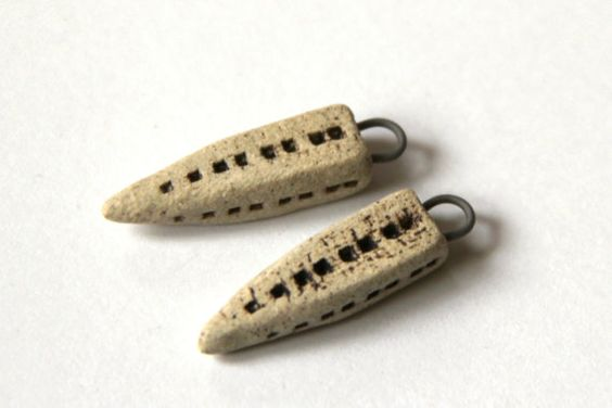 Rustic Stoneware Ceramic - handmade beads - components for jewelry making, great for earrings