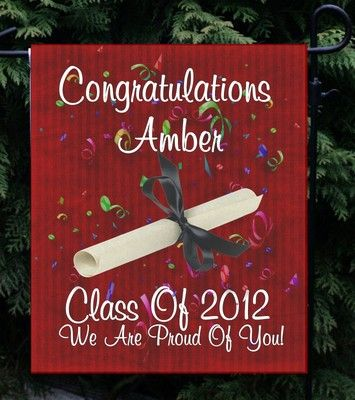 """Personalized Any Year Burgundy Graduation Garden/Yard Flag 4 Different Designs! Measures approx 11""""x15"""" - $14.95 Great for a Graduation Open House!"""