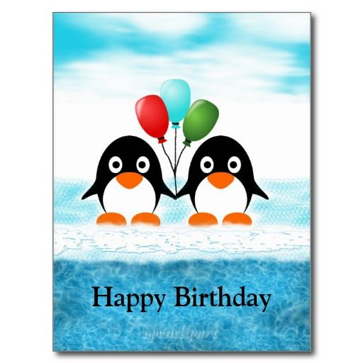 Cool Penguin Birthday Postcard