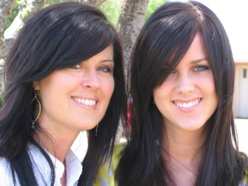 Mother Leslie Riley and daughter Amber are first-place winners of the mother and daughter look-alike contest.: