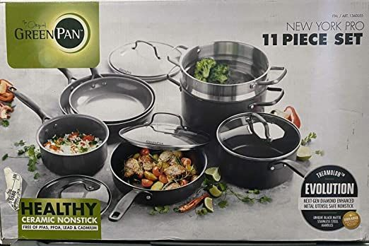 Greenpan New York Pro Ceramic Nonstick Cookware 11 Piece Set In 2020 Ceramic Nonstick Cookware Nonstick Cookware Greenpan