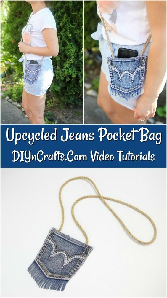 How to Make a Fashionable Denim Bag - This upcycled jeans bag tutorial provides a great way to reporuspoe blue jeans into a fun and functional craft with just a few simple supplies and steps!