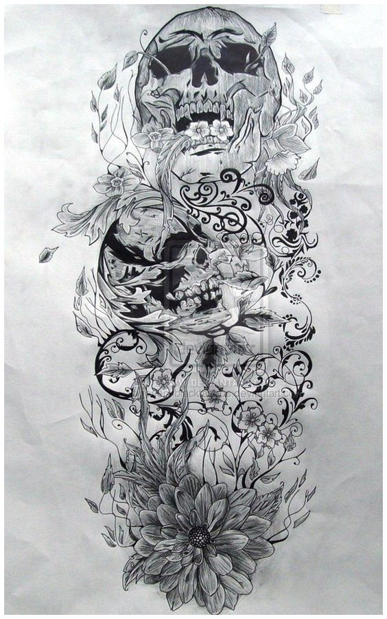 Skull sleeve, Skull sleeve tattoos and Skulls on Pinterest