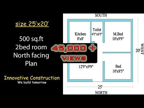 500 Sq Ft 25 X 20 North Facing House Plan Youtube North Facing House 2bhk House Plan How To Plan