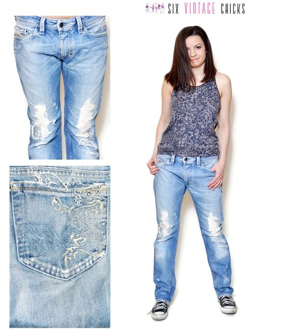 90s distressed jeans boyfrend ripped jean pants light blue denim ...