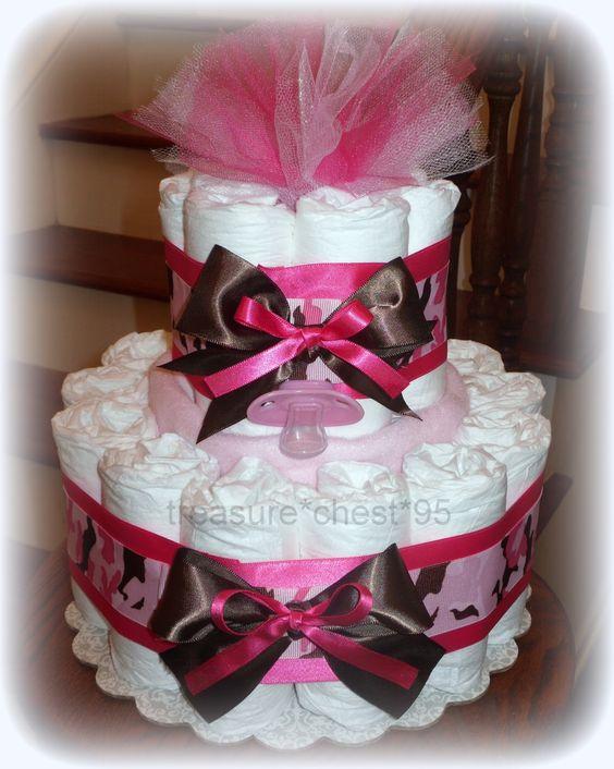 Pink camo diaper cake