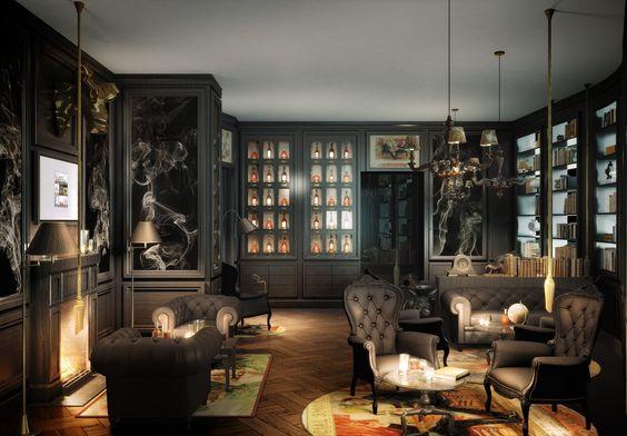 Kameha grand zurich cigar lounge offering a warm for Home decor zurich