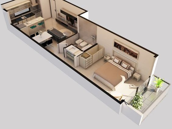 Planos de monoambientes peque os con medidas buscar con for Modelos de apartamentos modernos y pequenos
