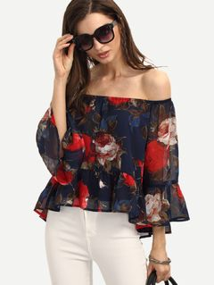 Multicolor Floral Off The Shoulder Blouse: