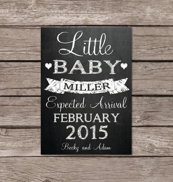 little baby chalkboard pregnancy announcement card or