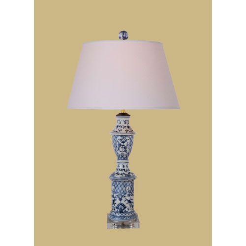 blue and white canton porcelain jar table lamp with crystal base. Black Bedroom Furniture Sets. Home Design Ideas