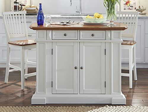 The Perfect Americana White And Distressed Oak Kitchen Island And Stools By Home The Perfect Ame Stools For Kitchen Island Kitchen Design Oak Kitchen