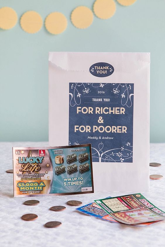 For Richer or Poorer Lotto Ticket Wedding Favors | Evermine Weddings | www.evermine.com