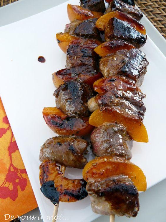 Brochette de Magret de Canard aux Abricots