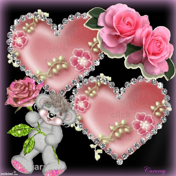SOME PINK ROSES, A GRAY TEDDY BEAR AND TWO SHINY PINK HEARTS: