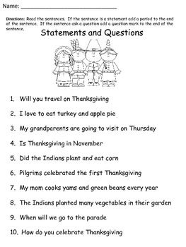 Free Thanksgiving Worksheet: Statements and Question | November ...