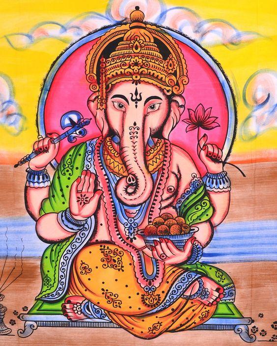 Grosse Tagesdecke mit handbemaltem Ganesha Motiv. Ideal auch als Wandtuch oder zur Deckenabhängung. . Ganesha ist als eine der höchsten hinduistischen Gottheiten der Beschützer und Förderer von...