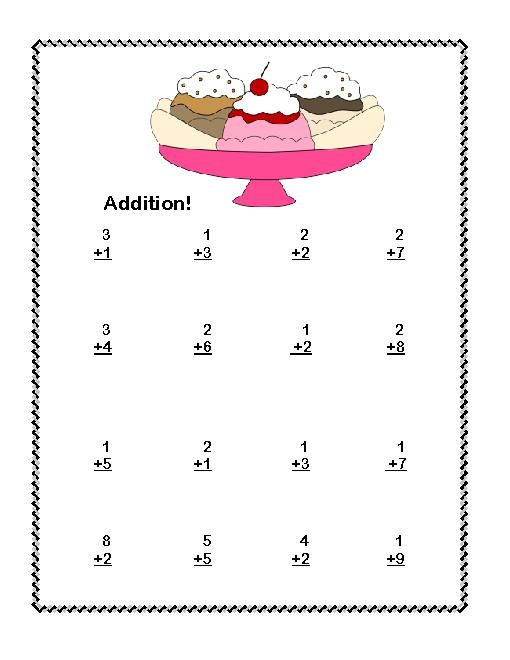 first grade math addition subtraction within 20 worksheets ice cream theme. Black Bedroom Furniture Sets. Home Design Ideas